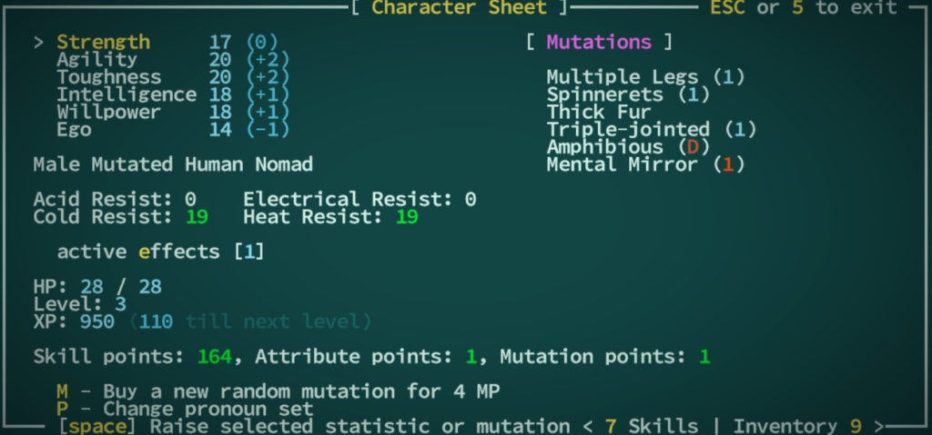 Character screen in Qud