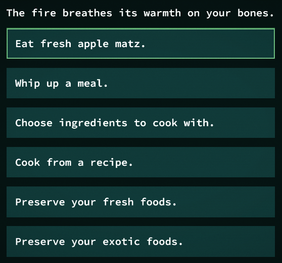 Cooking Interface Preview in Qud